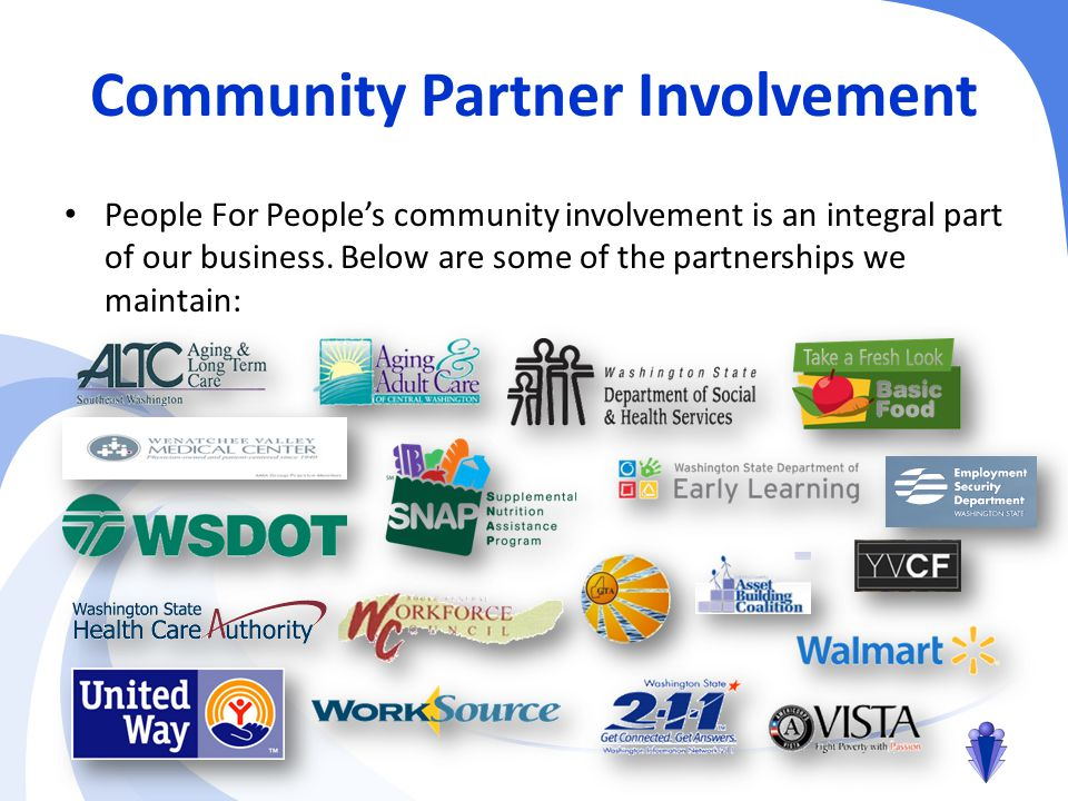 Community Partner Involvement People For People's community involvement is an integral part of our business.