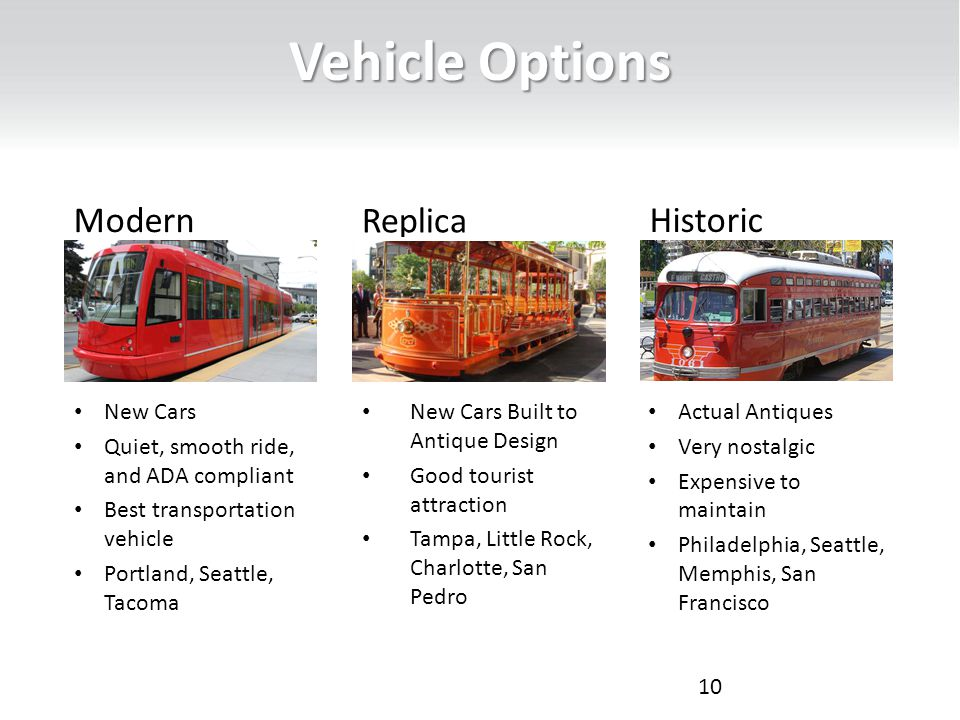 Vehicle Options 10 Modern New Cars Quiet, smooth ride, and ADA compliant Best transportation vehicle Portland, Seattle, Tacoma Replica New Cars Built to Antique Design Good tourist attraction Tampa, Little Rock, Charlotte, San Pedro Historic Actual Antiques Very nostalgic Expensive to maintain Philadelphia, Seattle, Memphis, San Francisco