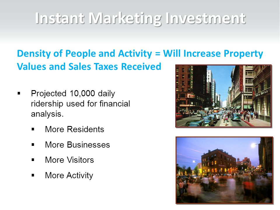 Instant Marketing Investment 24  Projected 10,000 daily ridership used for financial analysis.