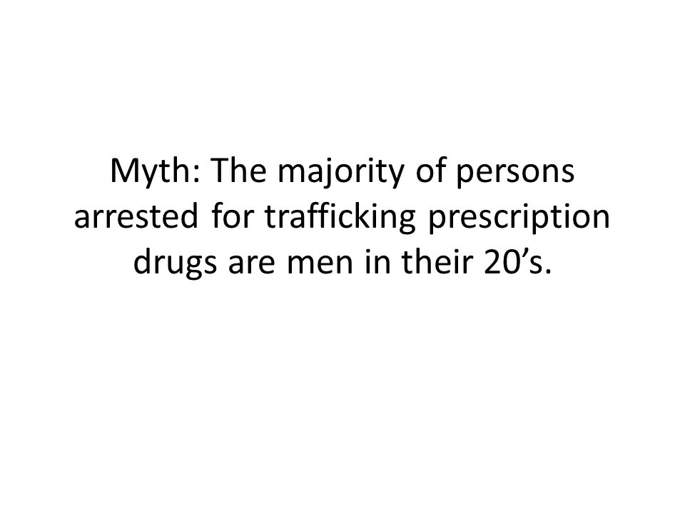 Myth: The majority of persons arrested for trafficking prescription drugs are men in their 20's.