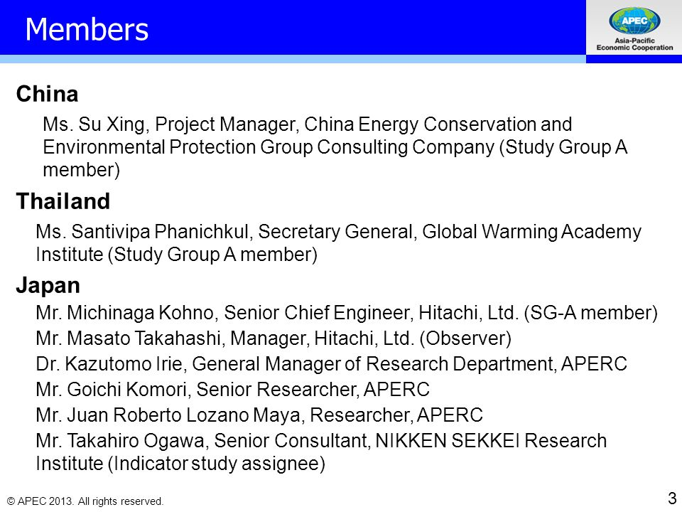 3 © APEC 2013.All rights reserved. Members China Ms.