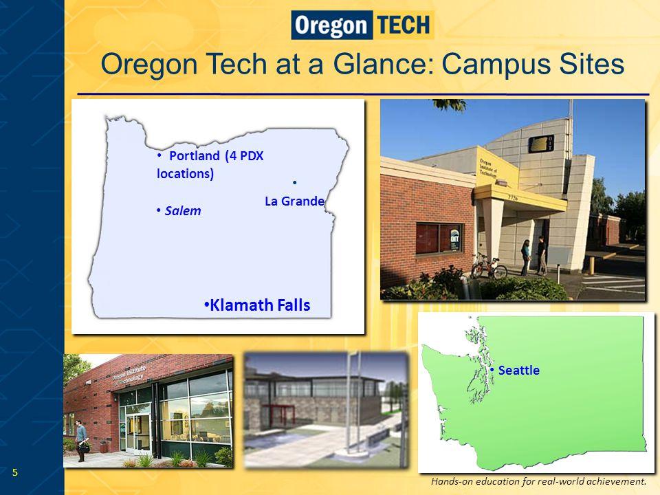 Hands-on education for real-world achievement. 5 Seattle Klamath Falls Portland (4 PDX locations) La Grande Salem Oregon Tech at a Glance: Campus Site