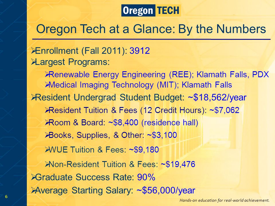Hands-on education for real-world achievement. 6 Oregon Tech at a Glance: By the Numbers  Enrollment (Fall 2011): 3912  Largest Programs:  Renewabl