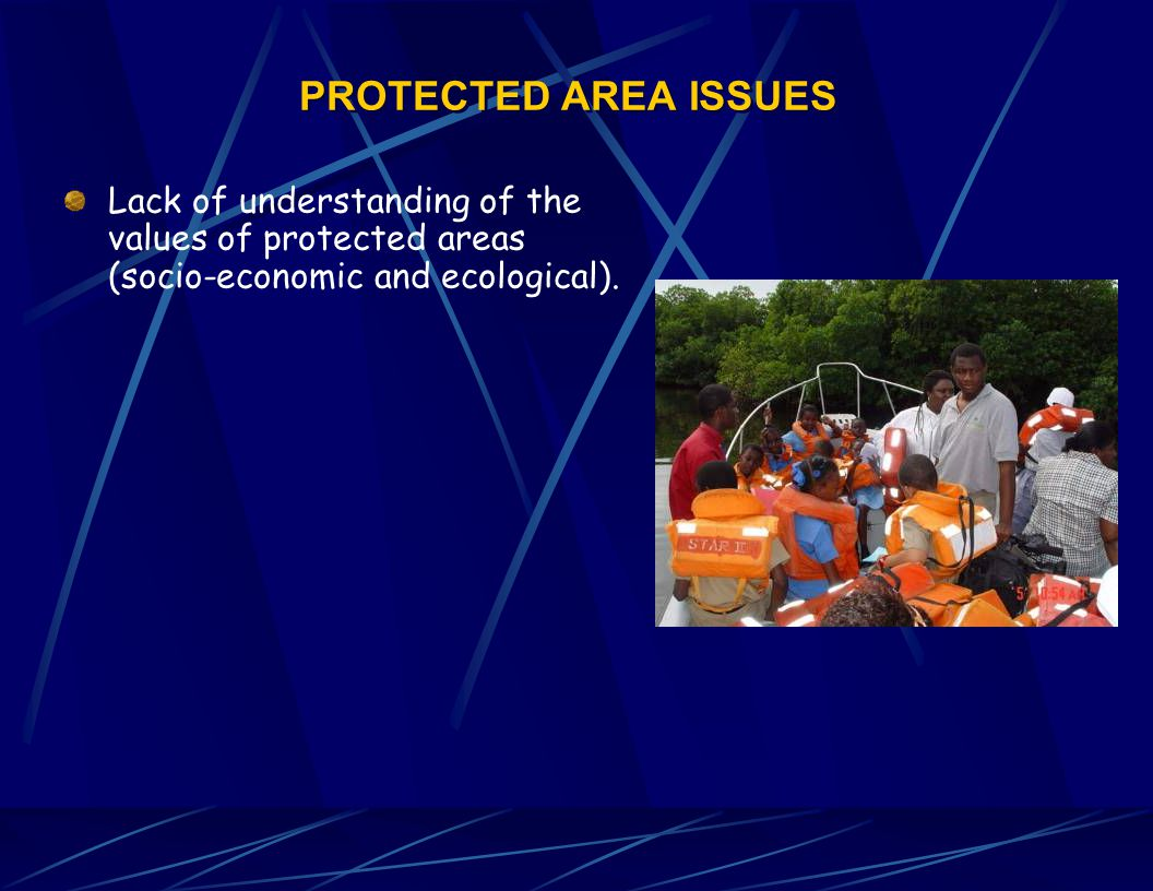 PROTECTED AREA ISSUES Lack of understanding of the values of protected areas (socio-economic and ecological).