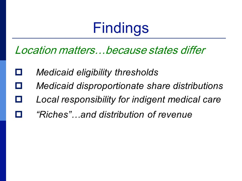 Findings Location matters…because states differ  Medicaid eligibility thresholds  Medicaid disproportionate share distributions  Local responsibility for indigent medical care  Riches …and distribution of revenue