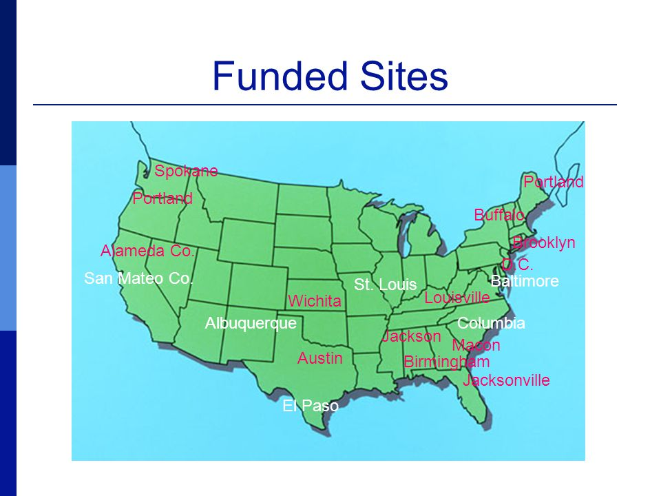 Funded Sites San Mateo Co. Spokane Portland Alameda Co.