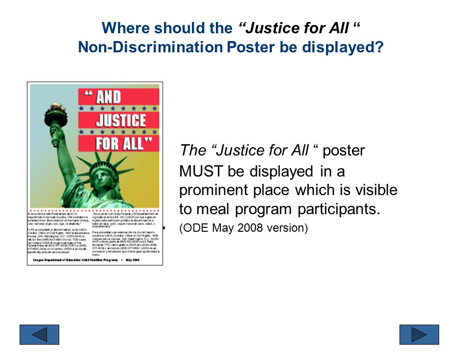 Where should the Justice for All Non-Discrimination Poster be displayed.
