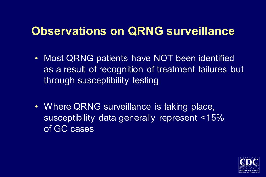 Observations on QRNG surveillance Most QRNG patients have NOT been identified as a result of recognition of treatment failures but through susceptibil