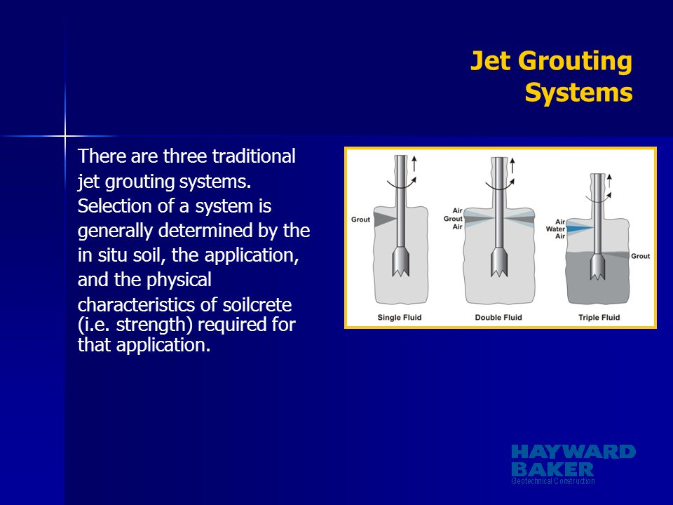 Jet Grouting Systems There are three traditional jet grouting systems. Selection of a system is generally determined by the in situ soil, the applicat