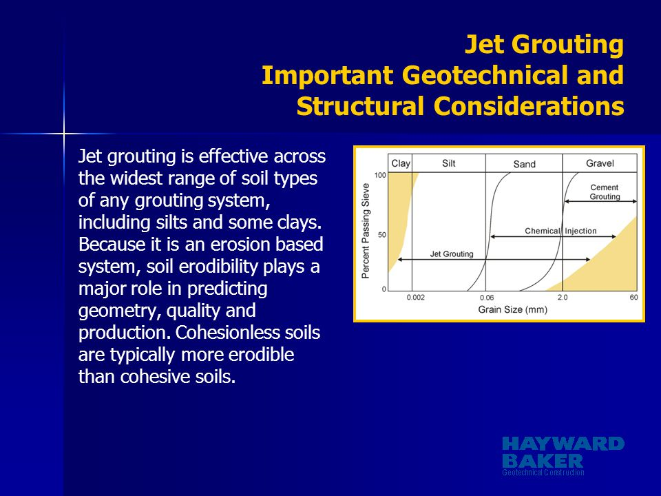 Jet Grouting Important Geotechnical and Structural Considerations Jet grouting is effective across the widest range of soil types of any grouting syst