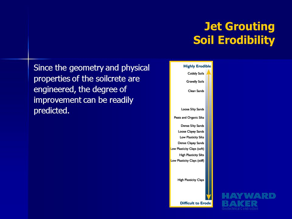 Jet Grouting Soil Erodibility Since the geometry and physical properties of the soilcrete are engineered, the degree of improvement can be readily pre