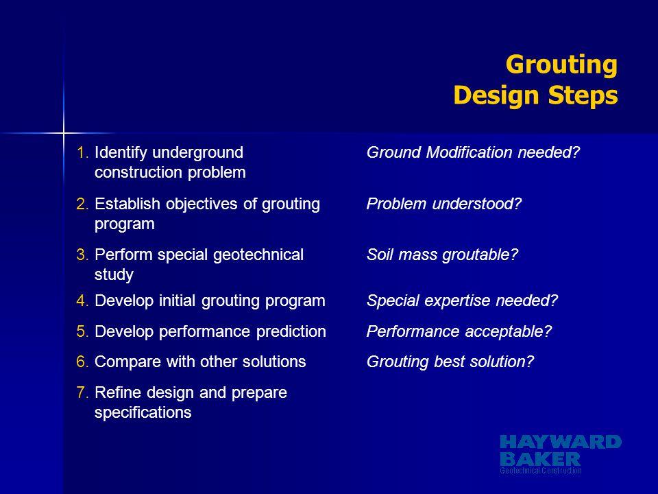Grouting Design Steps 1. Identify underground construction problem Ground Modification needed? 2. Establish objectives of grouting program Problem und