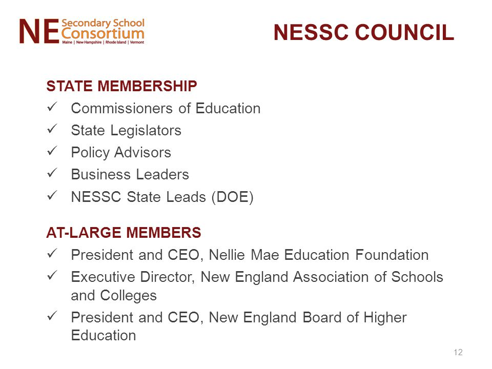 NESSC COUNCIL STATE MEMBERSHIP Commissioners of Education State Legislators Policy Advisors Business Leaders NESSC State Leads (DOE) AT-LARGE MEMBERS President and CEO, Nellie Mae Education Foundation Executive Director, New England Association of Schools and Colleges President and CEO, New England Board of Higher Education 12