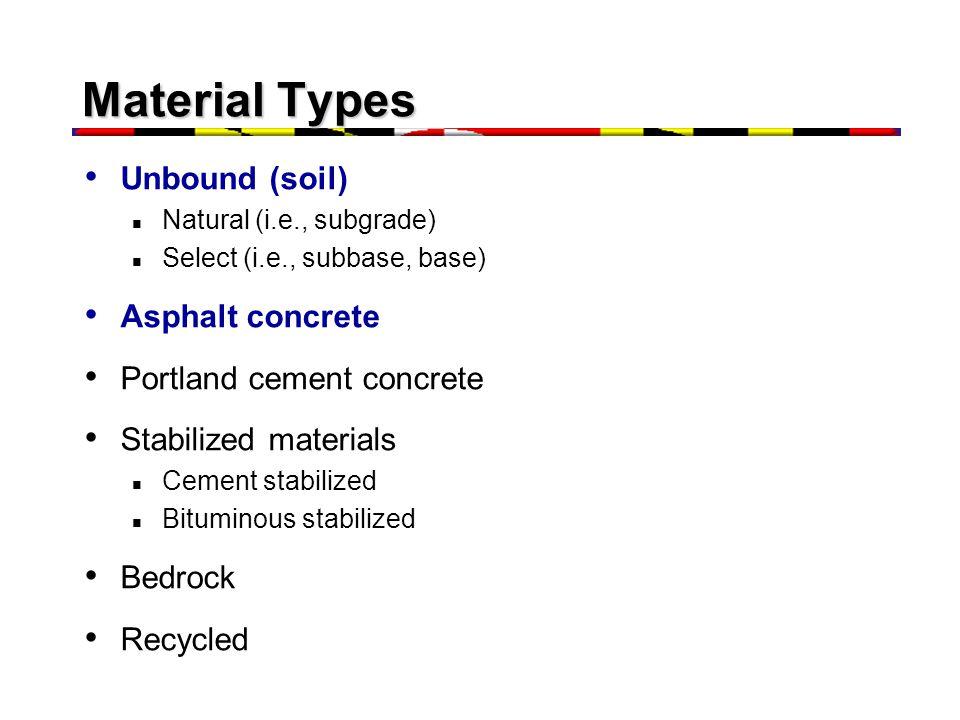 Material Types Unbound (soil) Natural (i.e., subgrade) Select (i.e., subbase, base) Asphalt concrete Portland cement concrete Stabilized materials Cement stabilized Bituminous stabilized Bedrock Recycled
