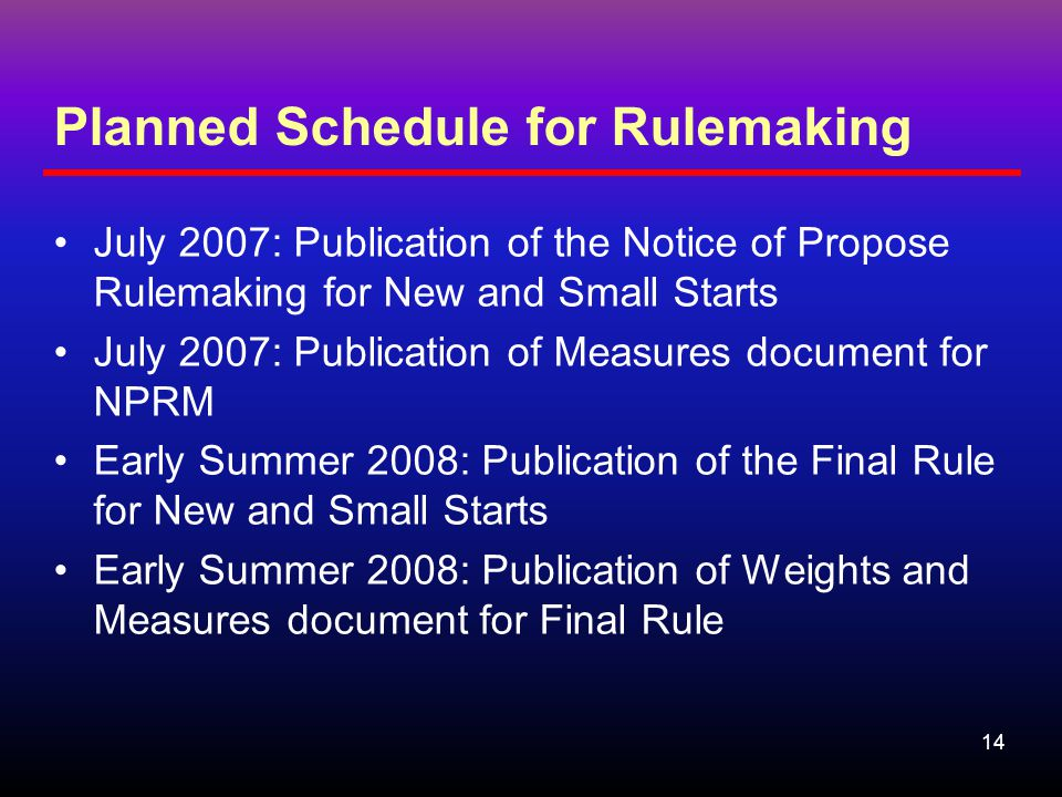14 Planned Schedule for Rulemaking July 2007: Publication of the Notice of Propose Rulemaking for New and Small Starts July 2007: Publication of Measures document for NPRM Early Summer 2008: Publication of the Final Rule for New and Small Starts Early Summer 2008: Publication of Weights and Measures document for Final Rule
