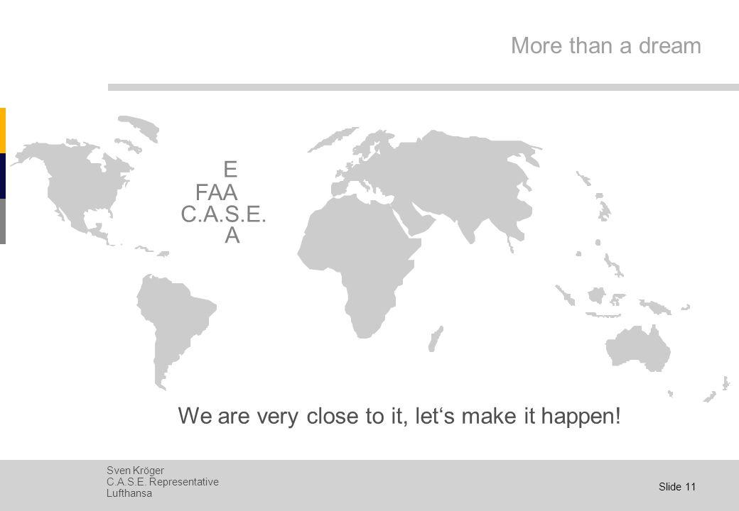 Sven Kröger C.A.S.E. Representative Lufthansa Slide 10 Today's World FAA EASA C.A.S.E.