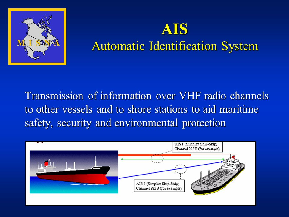 Transmission of information over VHF radio channels to other vessels and to shore stations to aid maritime safety, security and environmental protecti