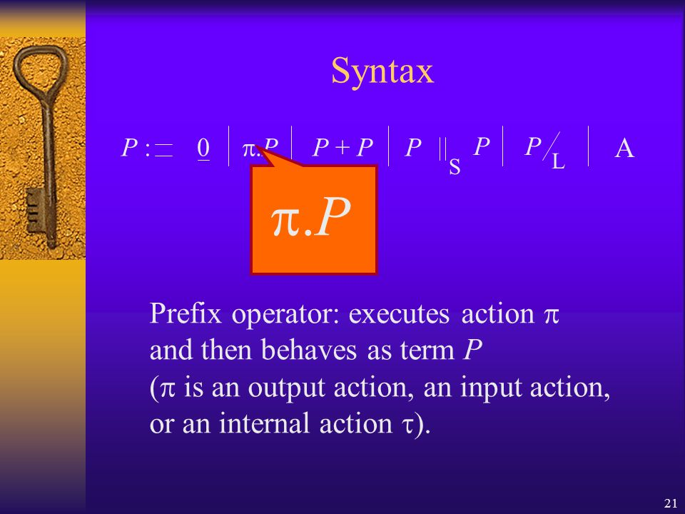 21 Syntax P :0  P P + P P P S P A  P Prefix operator: executes action  and then behaves as term P (  is an output action, an input action, or an internal action  L