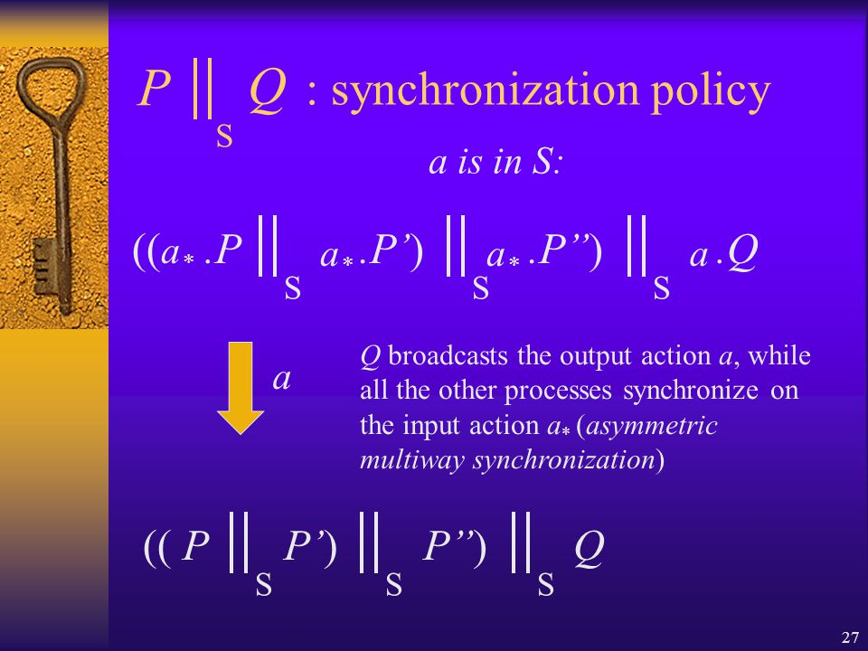 27 : synchronization policy (( a * P Q S.P S a*a*.P') S a a is in S: a*a*.P'') S a.Q (( P S P') S P'') S Q Q broadcasts the output action a, while all the other processes synchronize on the input action a * (asymmetric multiway synchronization)
