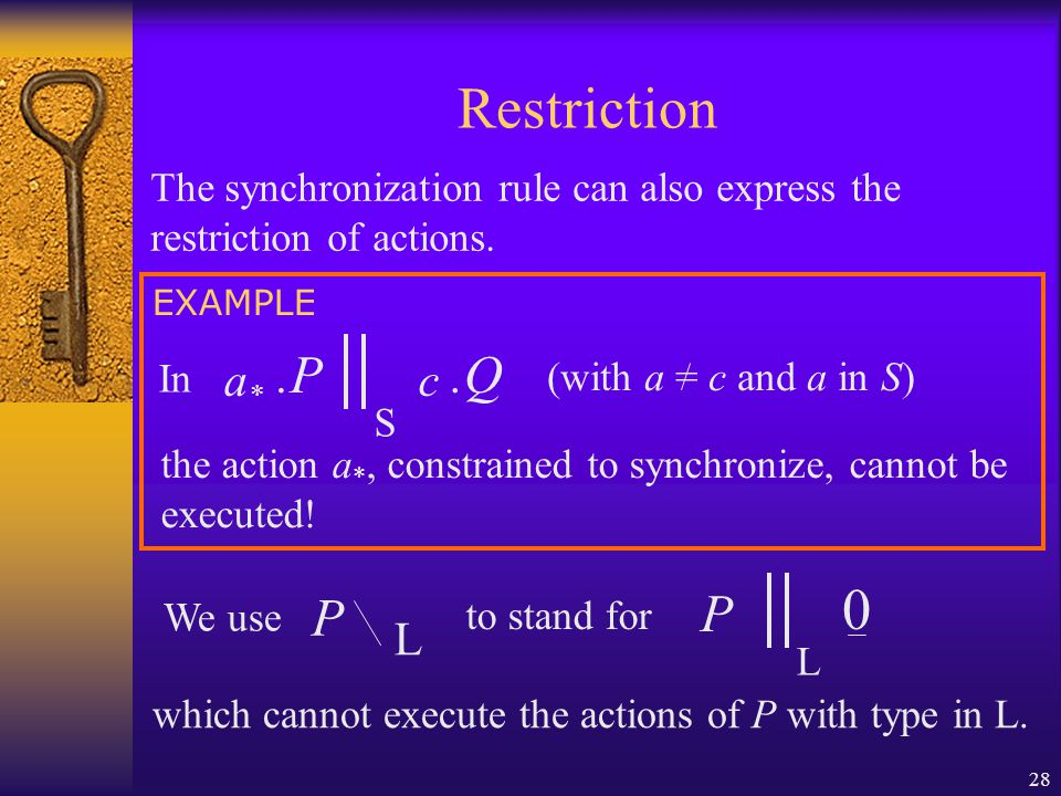 28 Restriction P L 0 which cannot execute the actions of P with type in L.