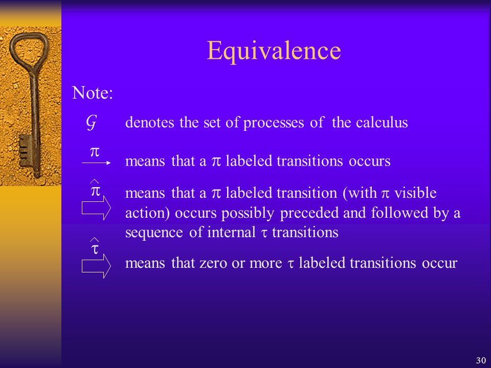 30 Equivalence Note: G denotes the set of processes of the calculus  means that a  labeled transition (with  visible action) occurs possibly preceded and followed by a sequence of internal  transitions  means that a  labeled transitions occurs  means that zero or more  labeled transitions occur