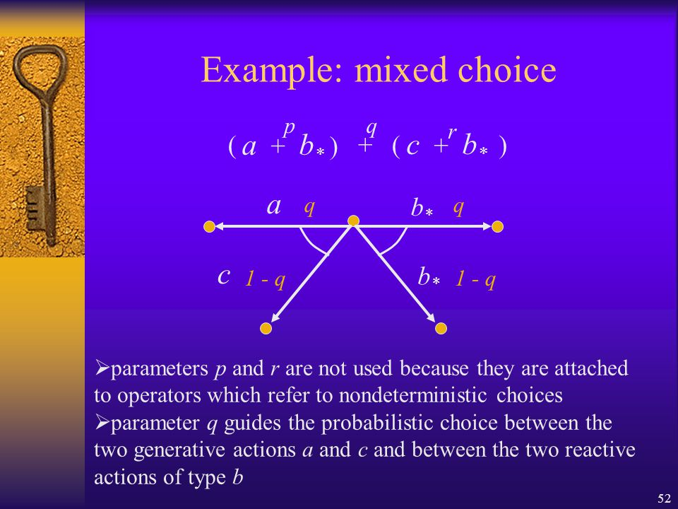 52 Example: mixed choice + a + b * p c + b * r q ( ) () b*b* b*b* q 1 - q a q c  parameters p and r are not used because they are attached to operators which refer to nondeterministic choices  parameter q guides the probabilistic choice between the two generative actions a and c and between the two reactive actions of type b