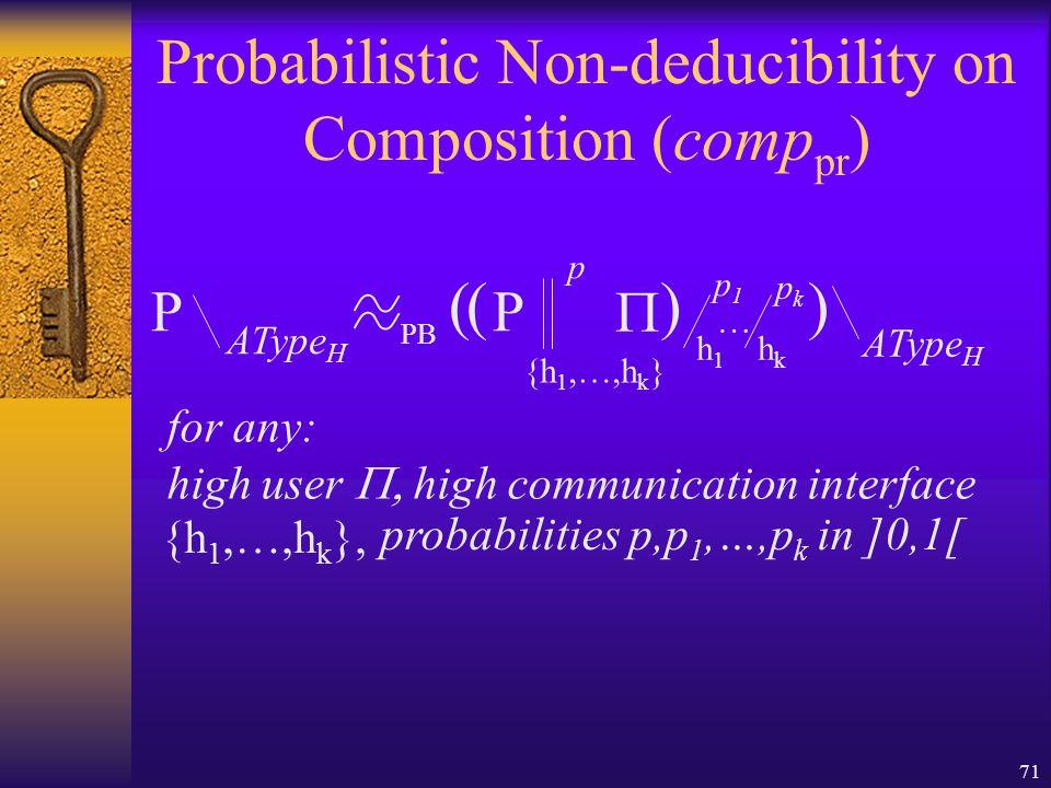71 Probabilistic Non-deducibility on Composition (comp pr ) P AType H P {h 1,…,h k }  AType H ()() for any: high user  high communication interface PB p h1h1 p1p1 … hkhk pkpk {h 1,…,h k }, probabilities p,p 1,…,p k in ]0,1[