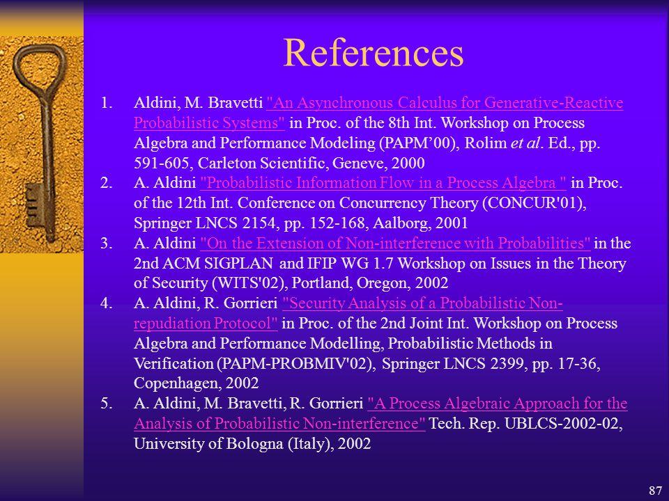 87 References 1.Aldini, M.