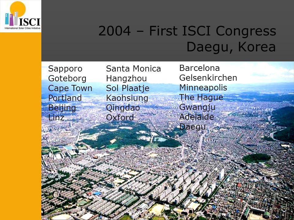 2004 – First ISCI Congress Daegu, Korea Sapporo Goteborg Cape Town Portland Beijing Linz Santa Monica Hangzhou Sol Plaatje Kaohsiung Qingdao Oxford Ba