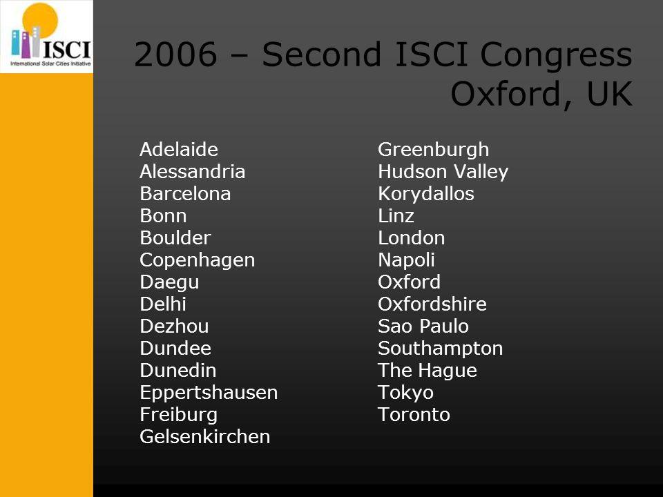 2006 – Second ISCI Congress Oxford, UK Adelaide Alessandria Barcelona Bonn Boulder Copenhagen Daegu Delhi Dezhou Dundee Dunedin Eppertshausen Freiburg