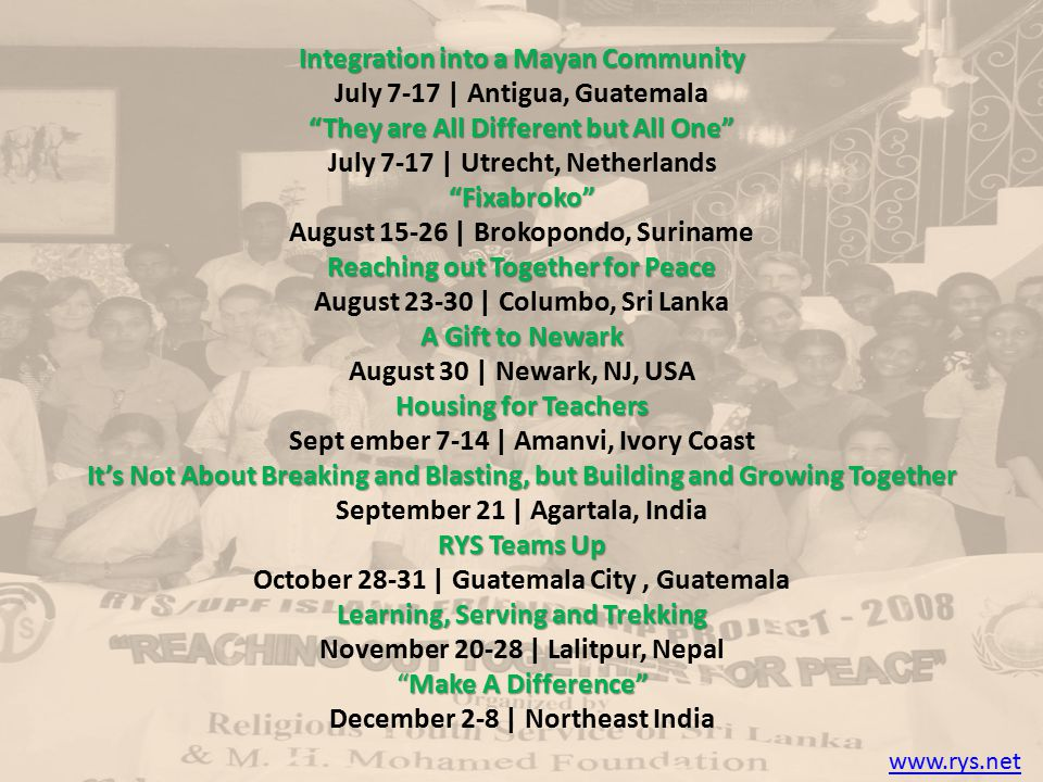 """Integration into a Mayan Community July 7-17 