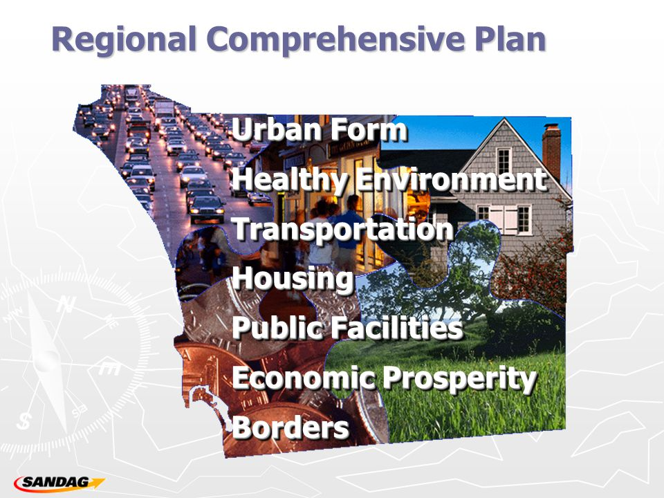 Regional Comprehensive Plan Urban Form Healthy Environment Healthy Environment Transportation Transportation Housing Housing Public Facilities Public Facilities Economic Prosperity Economic Prosperity Borders Borders Urban Form Healthy Environment Healthy Environment Transportation Transportation Housing Housing Public Facilities Public Facilities Economic Prosperity Economic Prosperity Borders Borders