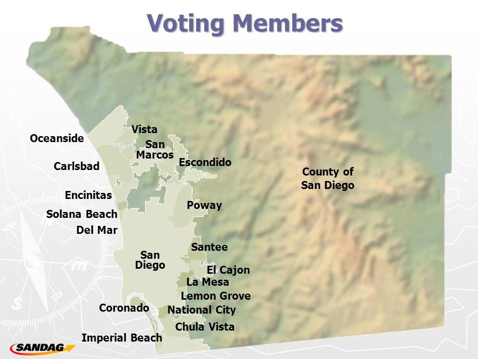 Voting Members Chula Vista Imperial Beach National City Coronado Lemon Grove La Mesa El Cajon Santee San Diego Del Mar Encinitas Solana Beach Carlsbad