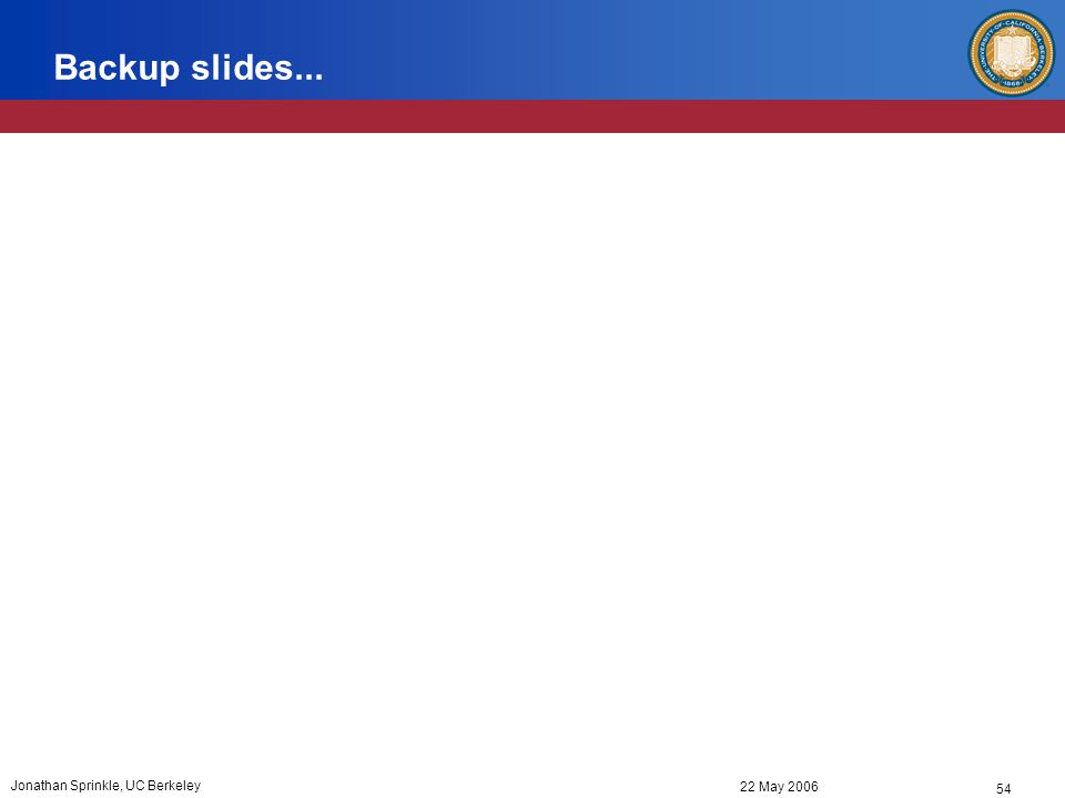 54 22 May 2006 Jonathan Sprinkle, UC Berkeley Backup slides...