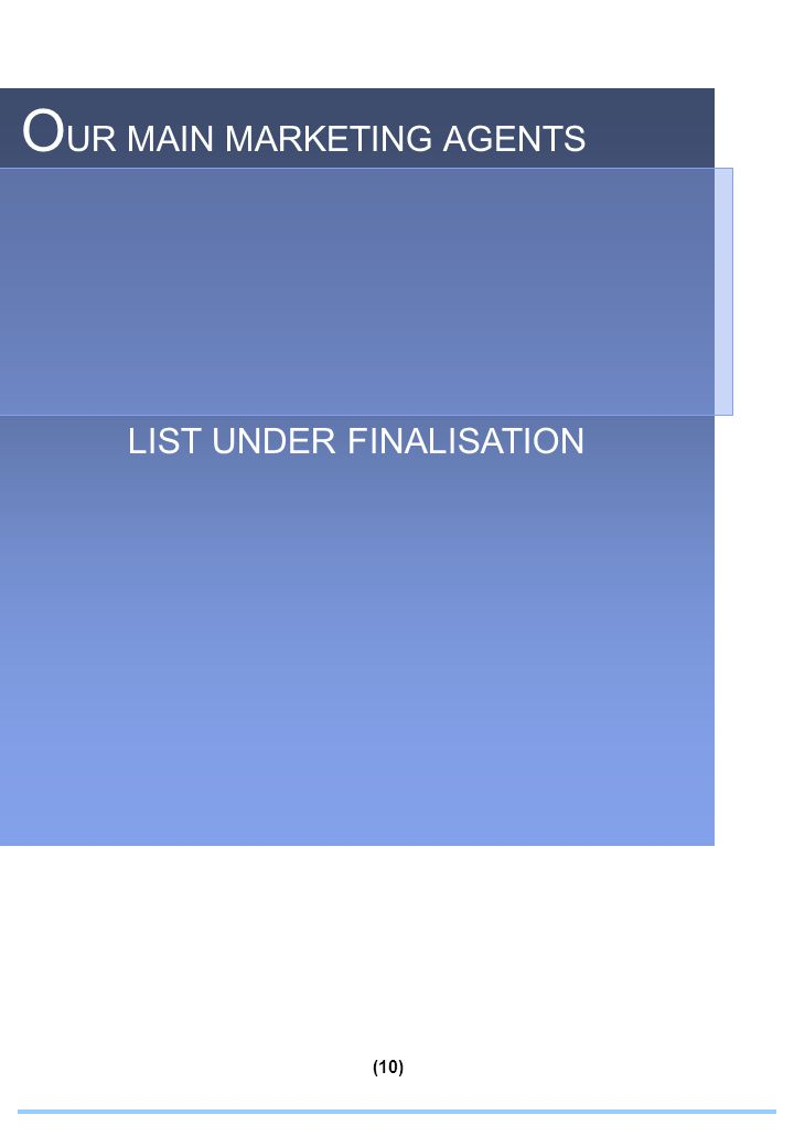 O UR MAIN MARKETING AGENTS LIST UNDER FINALISATION (10)