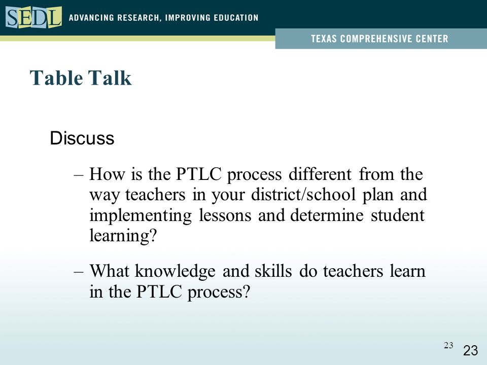 22 Six Steps of the PTLC Study Select Plan Implement Analyze Adjust 22