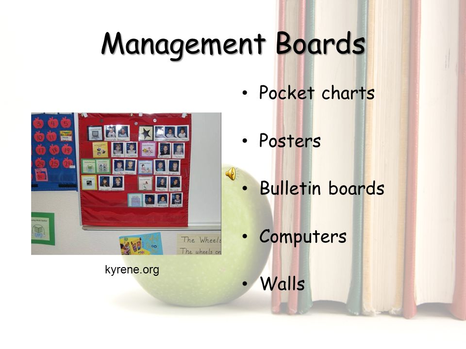 Management Boards Pocket charts Posters Bulletin boards Computers Walls kyrene.org
