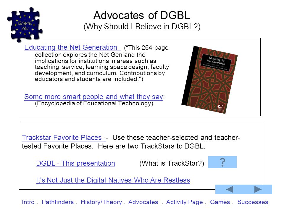 """History & Theory of Games History: What does Wikipedia say about """"Serious Games"""" or DGBL?What does Wikipedia say about """"Serious Games"""" or DGBL? What i"""