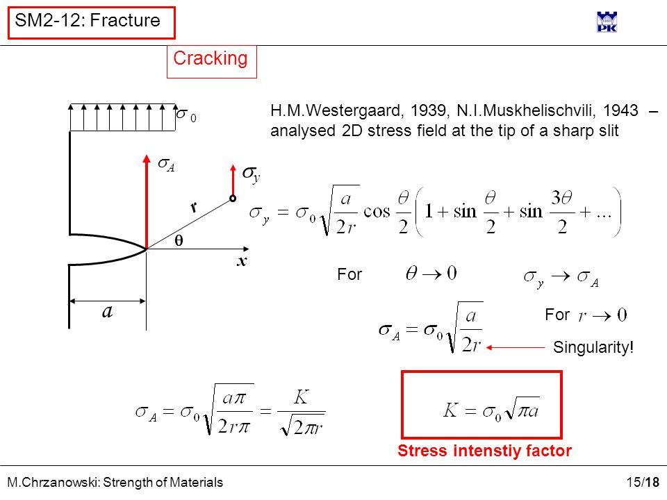 15 /18 M.Chrzanowski: Strength of Materials SM2-12: Fracture H.M.Westergaard, 1939, N.I.Muskhelischvili, 1943 – analysed 2D stress field at the tip of
