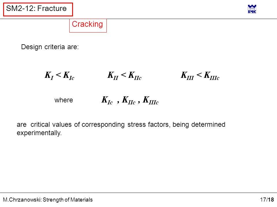 17 /18 M.Chrzanowski: Strength of Materials SM2-12: Fracture Design criteria are: K I < K Ic K II < K IIc K III < K IIIc where K Ic, K IIc, K IIIc are