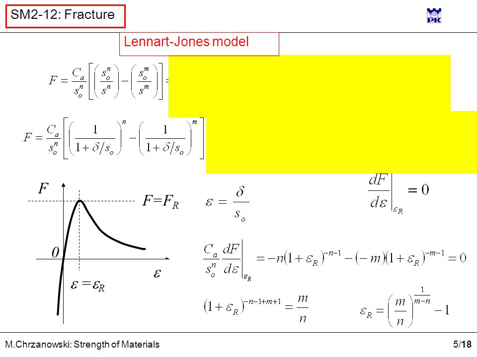 5 /18 M.Chrzanowski: Strength of Materials SM2-12: Fracture F  0 F=F R  =  R  =  R  Lennart-Jones model