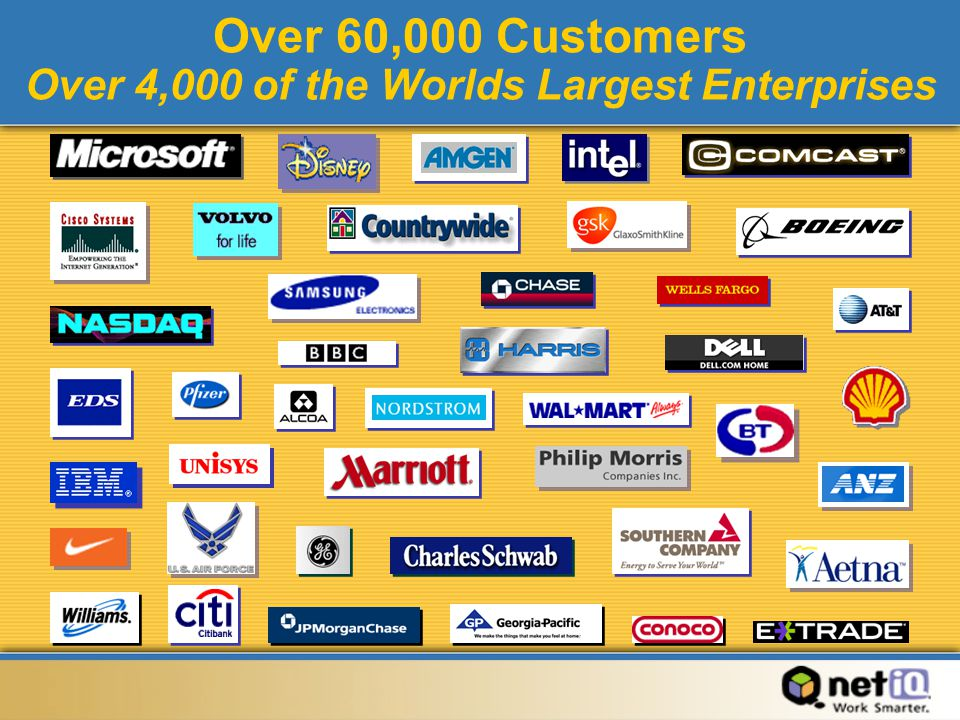 Over 60,000 Customers Over 4,000 of the Worlds Largest Enterprises