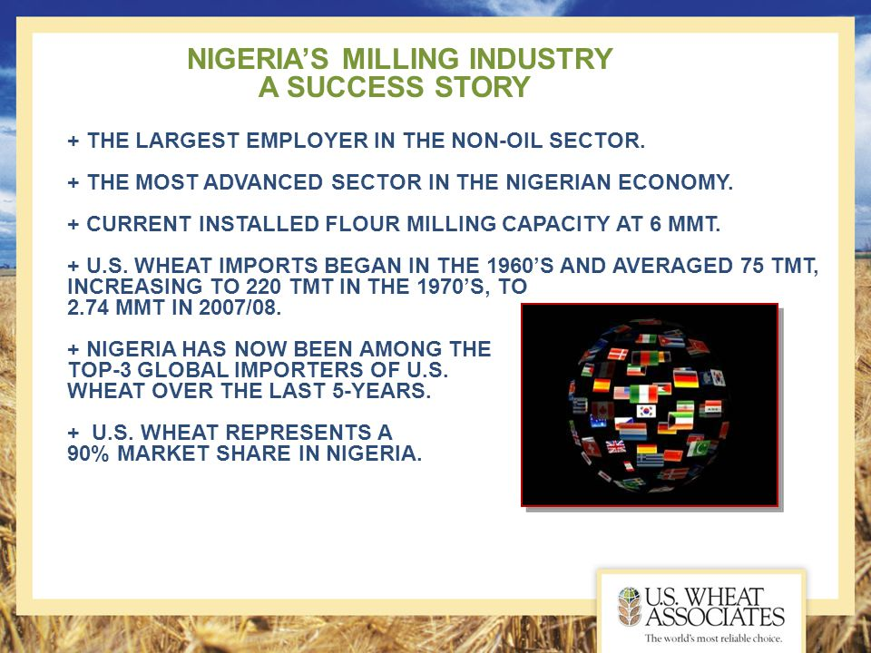 NIGERIA'S MILLING INDUSTRY A SUCCESS STORY + THE LARGEST EMPLOYER IN THE NON-OIL SECTOR. + THE MOST ADVANCED SECTOR IN THE NIGERIAN ECONOMY. + CURRENT