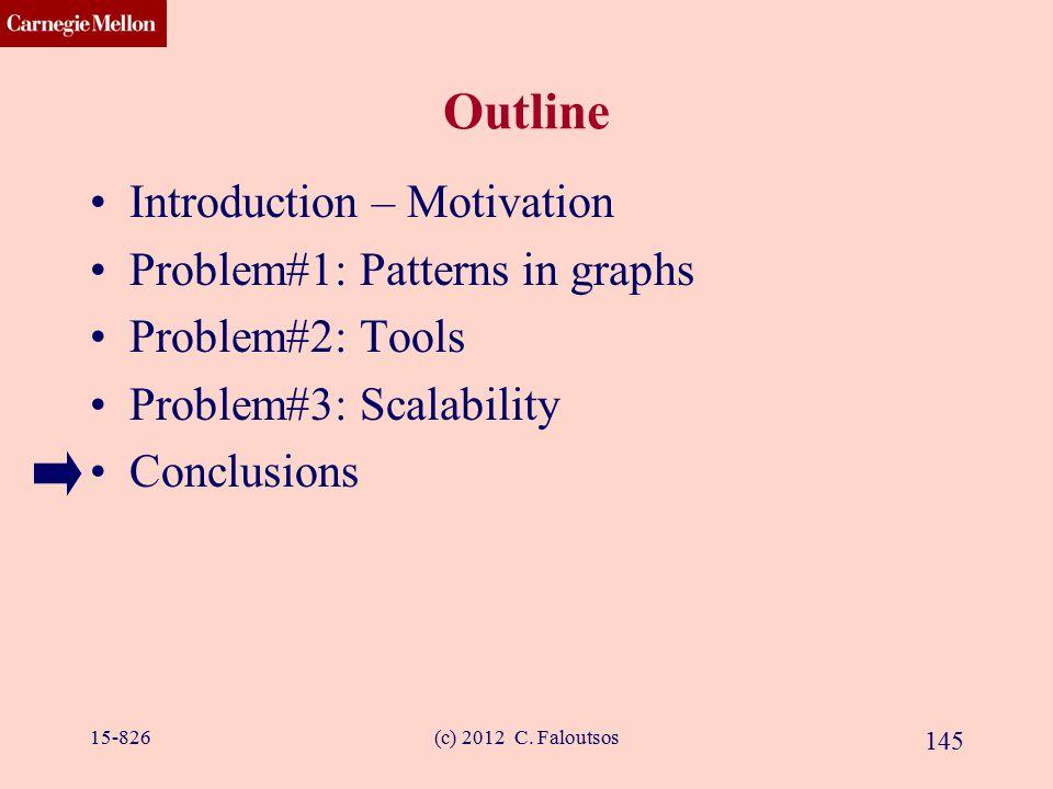 CMU SCS (c) 2012 C. Faloutsos 145 Outline Introduction – Motivation Problem#1: Patterns in graphs Problem#2: Tools Problem#3: Scalability Conclusions