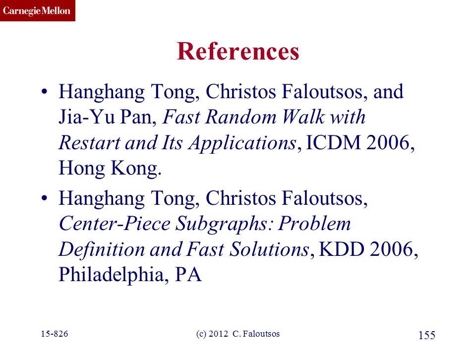 CMU SCS (c) 2012 C. Faloutsos 155 References Hanghang Tong, Christos Faloutsos, and Jia-Yu Pan, Fast Random Walk with Restart and Its Applications, IC