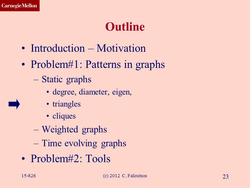 CMU SCS (c) 2012 C. Faloutsos 23 Outline Introduction – Motivation Problem#1: Patterns in graphs –Static graphs degree, diameter, eigen, triangles cli