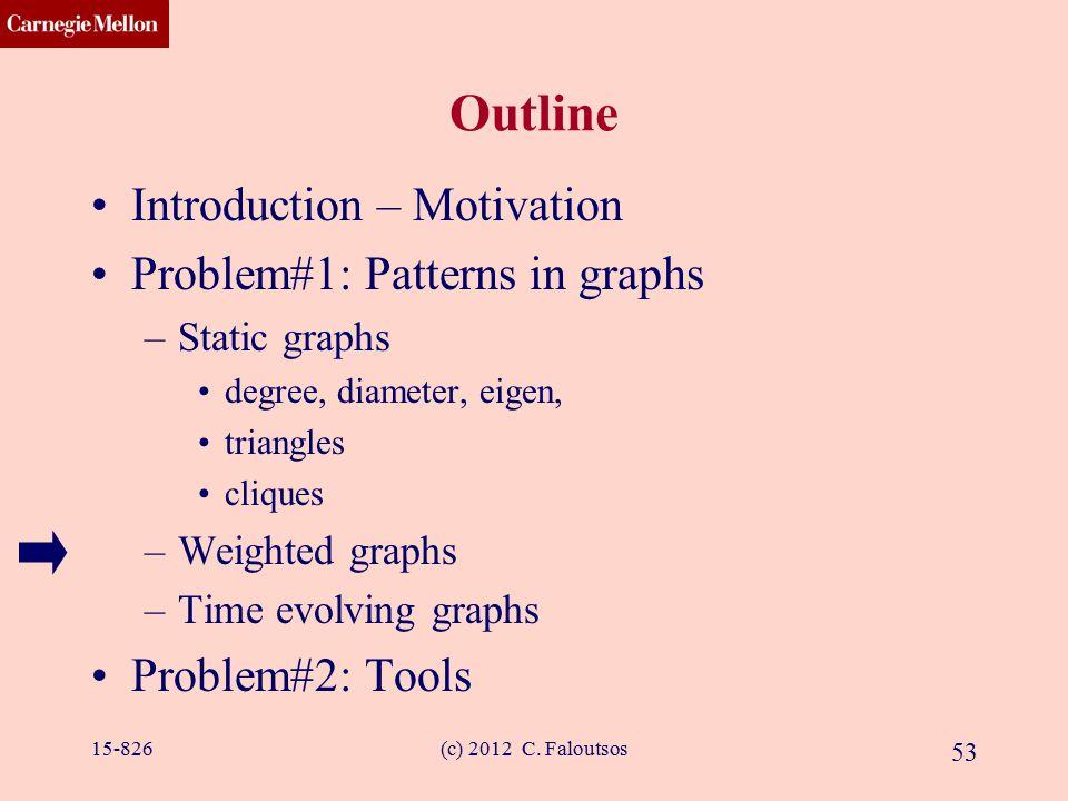 CMU SCS (c) 2012 C. Faloutsos 53 Outline Introduction – Motivation Problem#1: Patterns in graphs –Static graphs degree, diameter, eigen, triangles cli