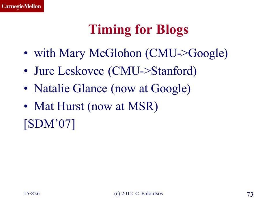 CMU SCS (c) 2012 C. Faloutsos 73 Timing for Blogs with Mary McGlohon (CMU->Google) Jure Leskovec (CMU->Stanford) Natalie Glance (now at Google) Mat Hu