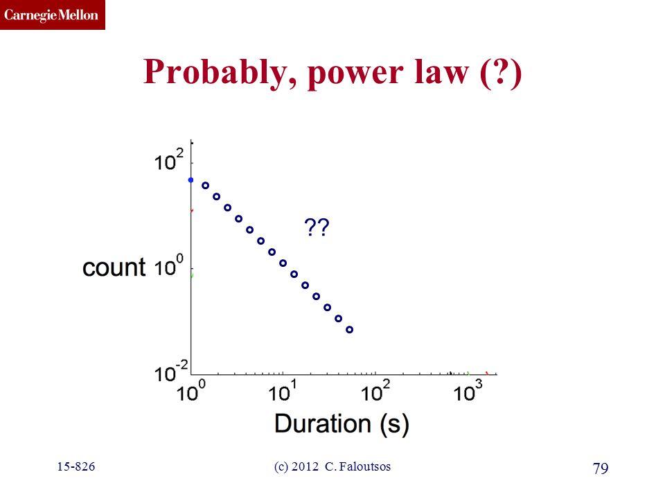 CMU SCS Probably, power law (?) 15-826(c) 2012 C. Faloutsos 79 ??