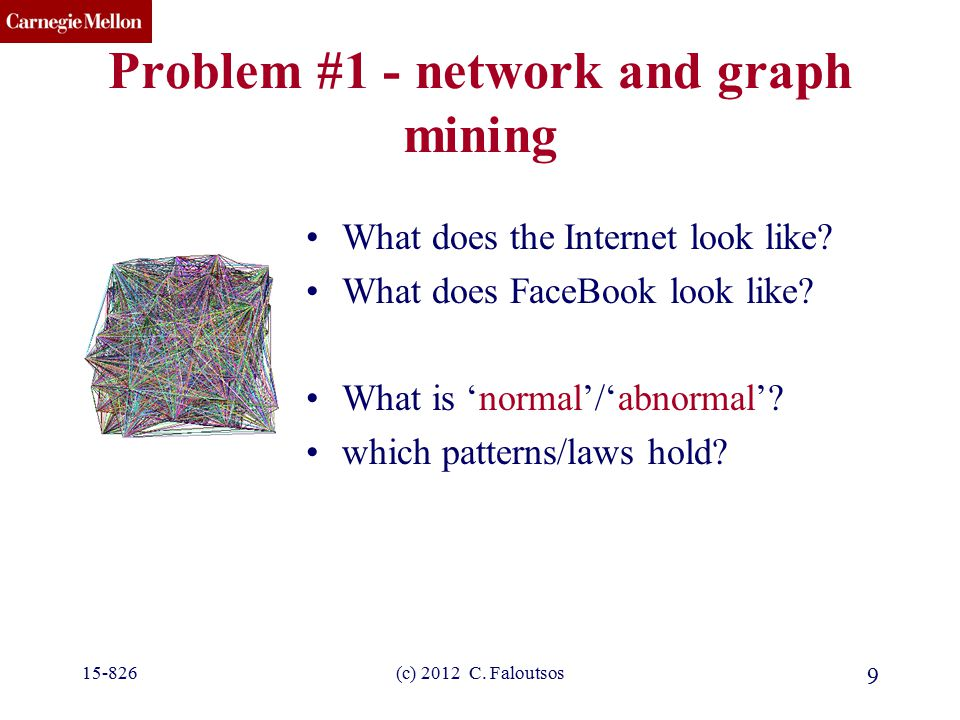 CMU SCS (c) 2012 C. Faloutsos 9 Problem #1 - network and graph mining What does the Internet look like? What does FaceBook look like? What is 'normal'